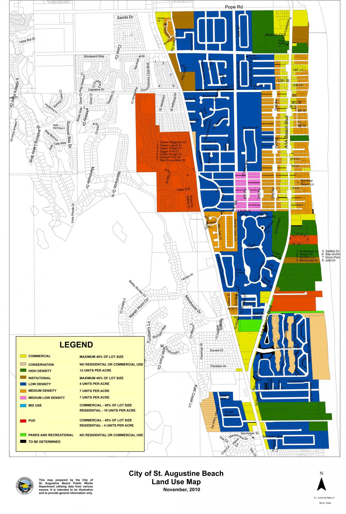 Map St Augustine Florida.Land Use Map St Augustine Beach Florida