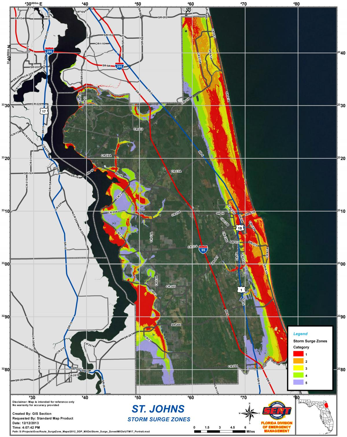 Map St Augustine Florida.Storm Surge Map St Augustine Beach Florida